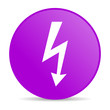 lightning violet circle web glossy icon