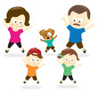 Family doing jumping jacks