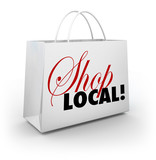 Shop Local Support Community Shopping Bag Words