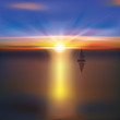 abstract background with sunrise and yacht