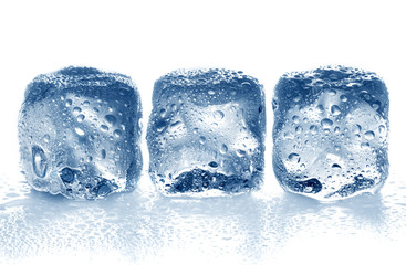 Ice cubes isolated on white.