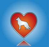 Love Dog Concept Illustration with Red heart and Dog Silhouette