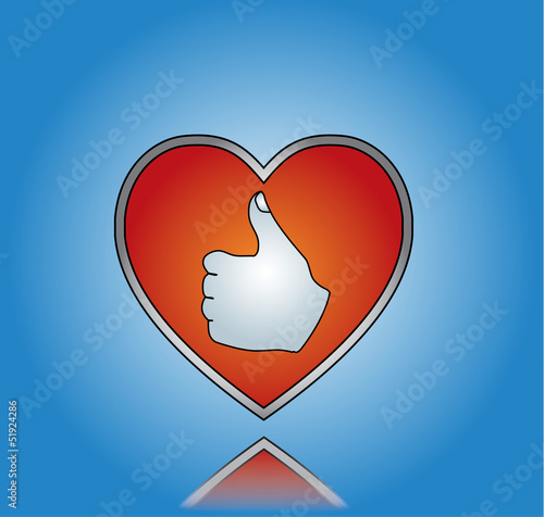Love Like Illustration with red heart and thumbs up silhouette
