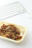 fast food lunch on working desk
