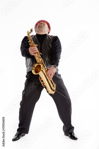 saxophonist with a bristle