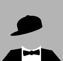 man wearing baseball cap with tuxedo