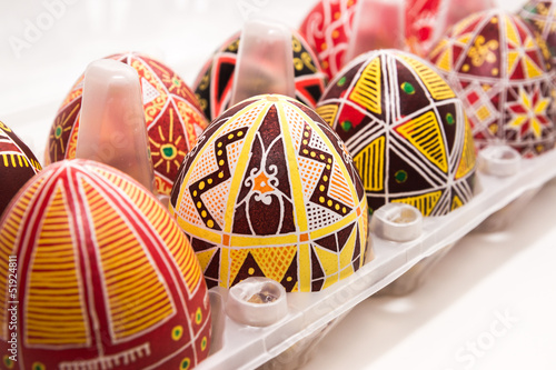 Eggs in box with pattern for Easter holiday