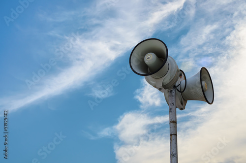 Loundspeaker with blue sky background