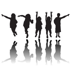 Happy children silhouettes vector illustration