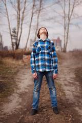 Portrait of  boy dreamer