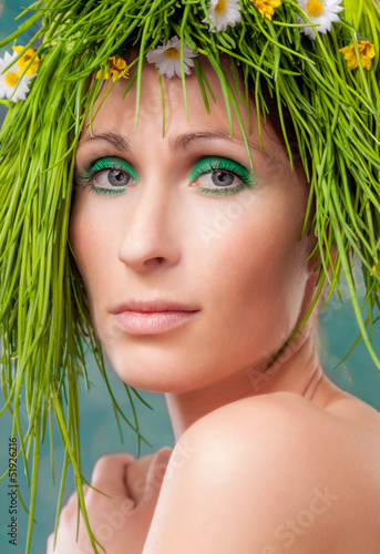 green grass  hair beauty
