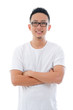 casual confident looking asian male with isolated white backgrou