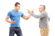 A guy and mature man arguing