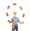 Construction worker juggling with bricks
