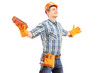 Happy manual worker holding a brick and spreading arms