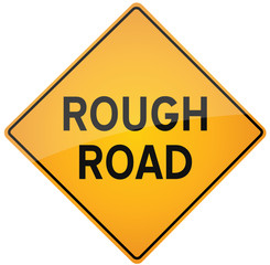 Rough Road caution sign