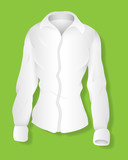 White Long Sleeves Female Shirt Design Vector Template