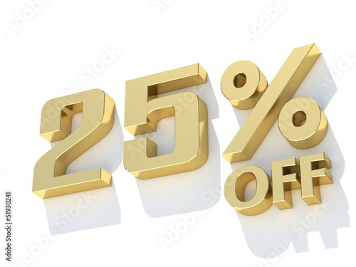 25 Percent off - gold yellow metal symbol