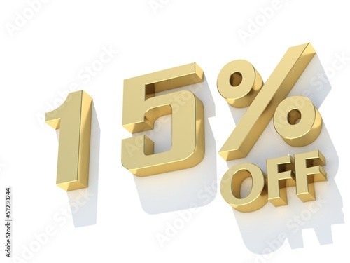 15 Percent off - gold yellow metal symbol