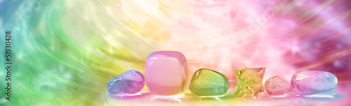 Deurstickers Edelsteen Crystal Healing website banner head