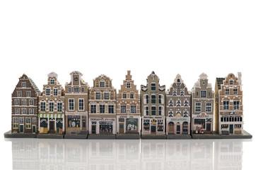 skyline from old amsterdam model houses