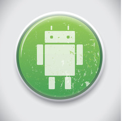Android, Robot - Vectore Button Badge