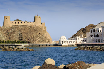 Sultan's Palace complex with Al-Jalali fort in Old Muscat