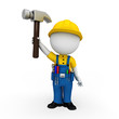 3d white people as plumber standing on the blank background