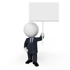 3d white people as business man standing near sign