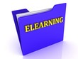 ELEARNING bright gold letters on a blue folder with papers