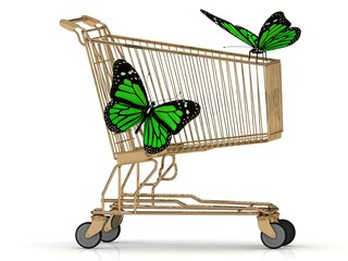 Two green butterfly sitting on a basket
