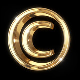 Golden 3D copyright symbol with clipping path