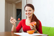 long-haired woman in red eats grapefruit