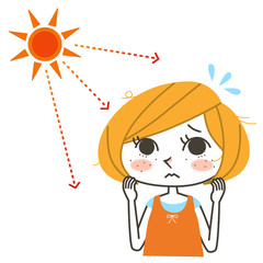 女性と直射日光
