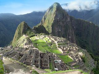 Machu Picchu overview. Lost temple city of incas. Peru