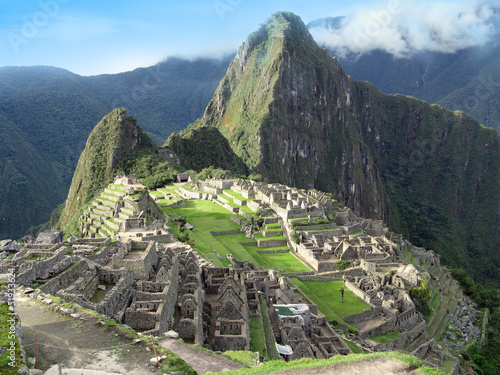 Machu Picchu overview. Lost temple city of incas. Peru