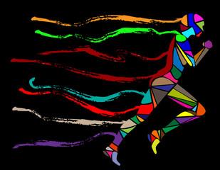 sagoma composta da colori che corre