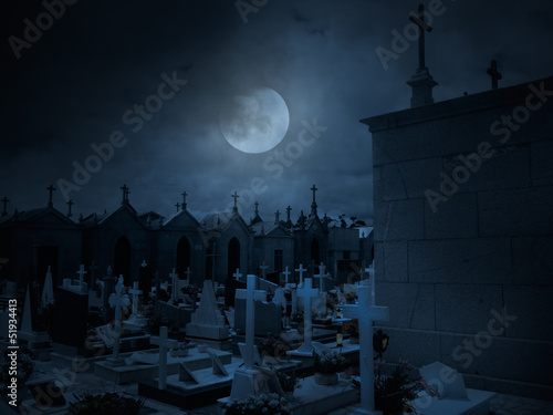 Old European cemetery by night