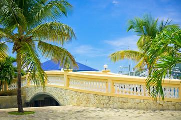 Beautiful stone bridge in Philipsburg, Saint Marteen, Caribbean