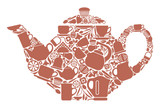 Teapot with the image of symbols of tea drinking