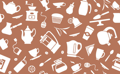 Seamless background on a coffee and tea theme
