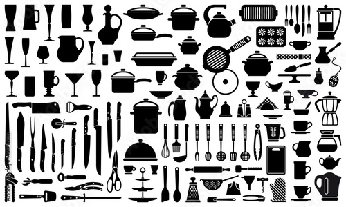 Silhouettes of kitchen ware and utensils - 51935606