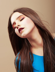 Dreaminess. Sensual Dreaming Brunette with Straight Brown Hair