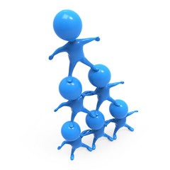 Little blue men form a pyramid