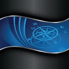 Blue compass background with silver and black borders