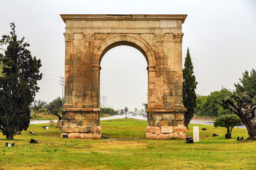Triumphal arch of Bera in Tarragona, Spain.