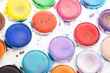 Macro photo of colorful watercolor paints