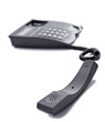 Black telephone on white with space for text