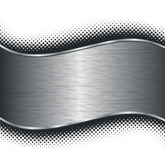 Brushed silver metal background with black halftone borders