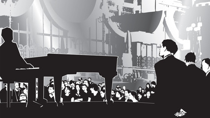 Evening open air concert illustration